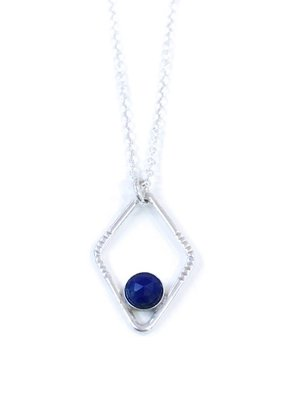 Sloane Sterling Silver Diamond Sunburst Lapis Lazuli Necklace