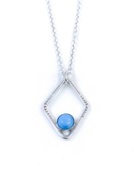 Sloane Sterling Silver Diamond Sunburst Turquoise Necklace