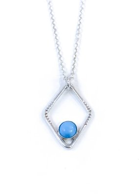 Sloane Sterling Silver Diamond Sunburst Turquoise Necklace