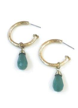 Gold Hoop with Jadeite Drop Earring