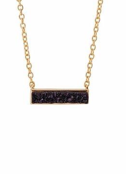 Sonya Renee Mini Drusy Bar Necklace Black