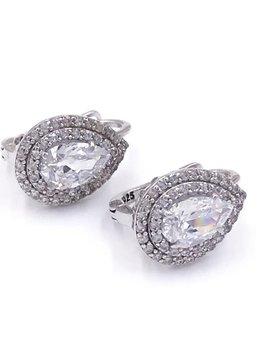 Italian Sterling Silver Huggie Earrings w/ Teardrop Swarovski Crystals