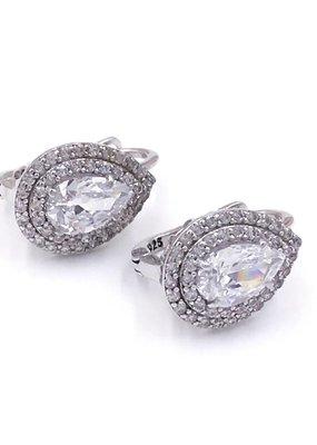 Qualita In Argento Italian Sterling Silver Huggie Earrings w/ Teardrop Swarovski Crystals