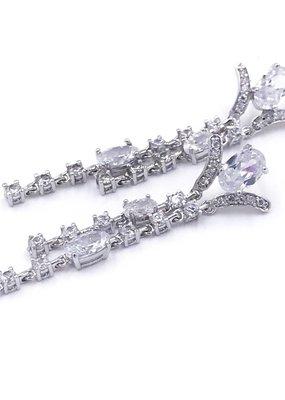 DS Bridal Silver AAA Cubic Zirconia Oval Long Dangling Earrings