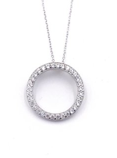 Italian Sterling Silver CZ Paved Open Circle Necklace