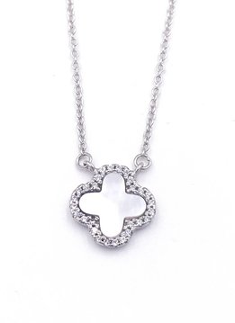 Italian Sterling Silver Clover wi/ Mother of Pearl Necklace