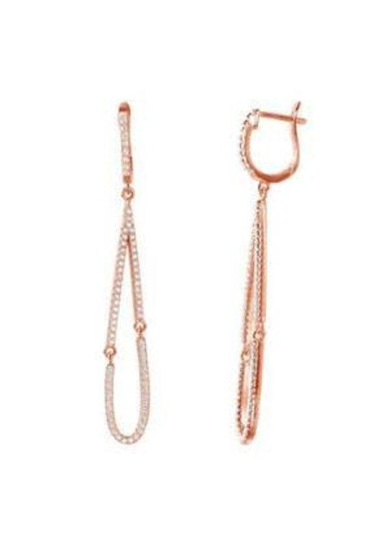 Rose Gold Sterling Open Tear Drop CZ Earrings