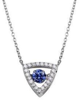 Qualita in Argento Italian Sterling Silver Triangle Dancing Diamond Necklace with Blue CZ Stone