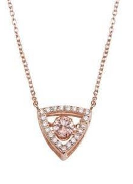 Qualita in Argento Italian Sterling Silver Triangle Dancing Diamond Necklace with Rose CZ Stone