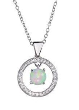 Qualita in Argento Italian Sterling Silver Round Frame Opal Necklace
