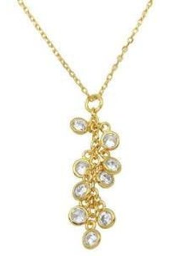 Italian Sterling Silver Gold Crystal Cluster Necklace