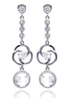Italian Sterling Silver Circle CZ Drop Earrings