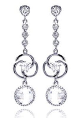 Qualita In Argento Italian Sterling Silver Circle CZ Drop Earrings