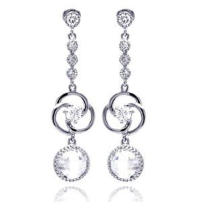 Qualita In Argento Italian Sterling Silver Circle CZ Drop Earrings