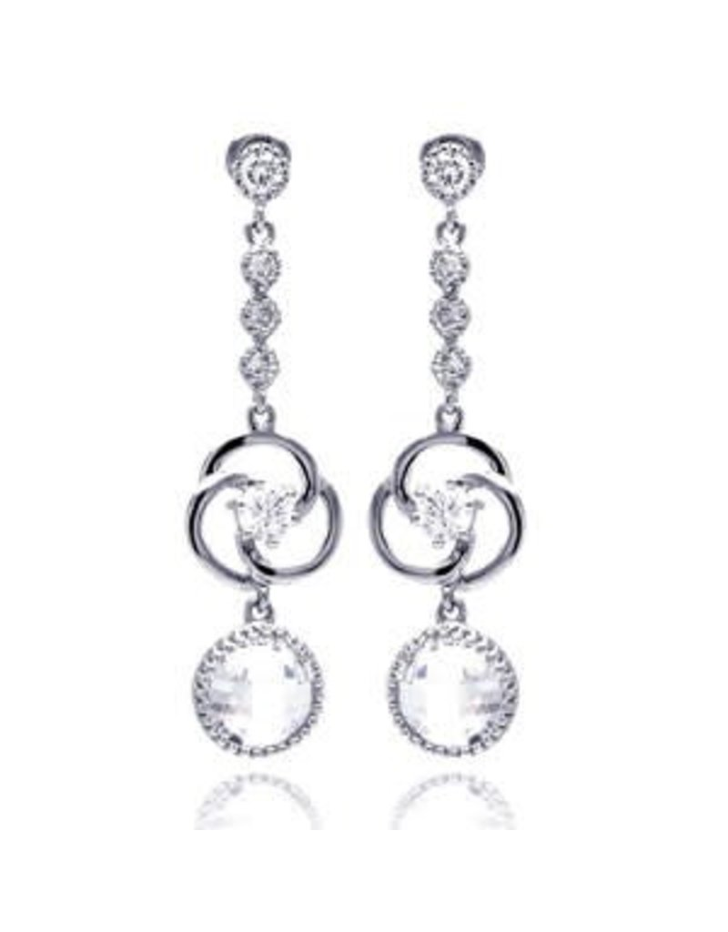 Sterling Silver Circle CZ Drop Earrings