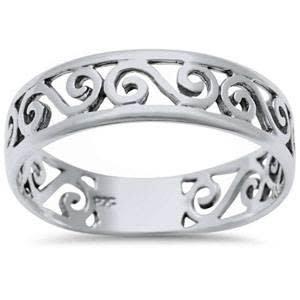 Sterling Silver Plain Spiral Design Ring SZ6