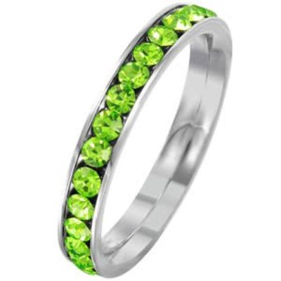 Stainless Steel Eternity Ring with August Crystal SZ 6