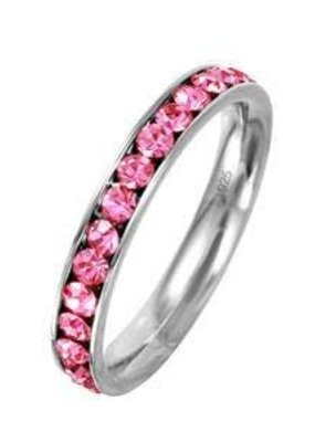 Stainless Steel Eternity Ring with October Crystal SZ7