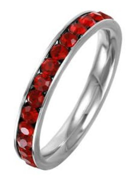 Stainless Steel Eternity Band with January Crystal SZ 9