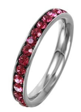 Stainless Steel Eternity Ring with July Crystal SZ7