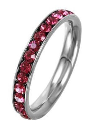 Stainless Steel Eternity Ring with July Crystal SZ5