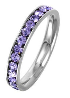 Stainless Steel Eternity Ring with February Crystal SZ9