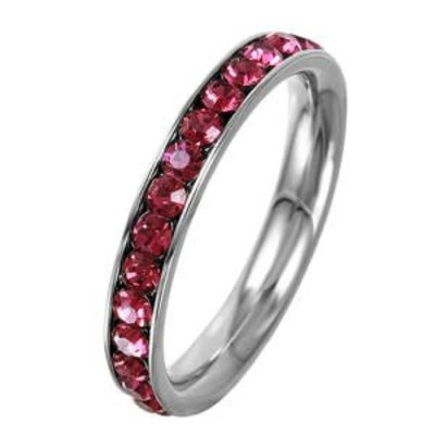 Stainless Steel Eternity Ring with July Crystal SZ8