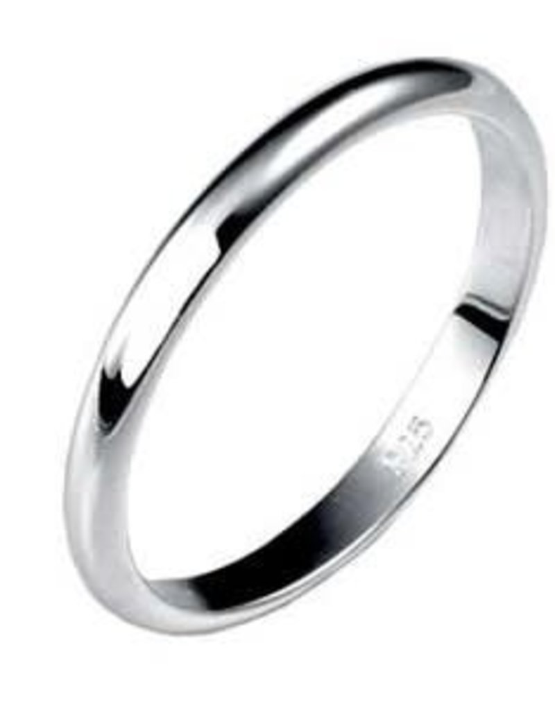 2mm Sterling Silver High Polish Ring