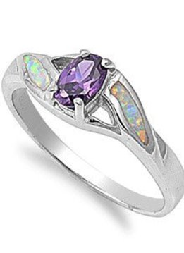 Sterling Amethyst and Opal Ring Size SZ7