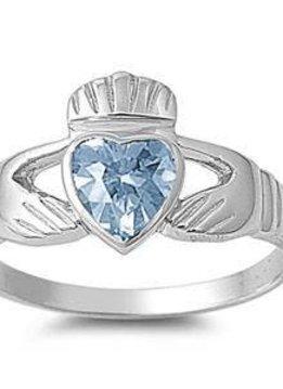 Sterling Silver Aquamarine Claddagh Shaped CZ Ring