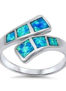 Sterling Silver Blue Opal Ring SZ6