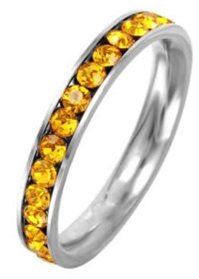 Stainless Steel Eternity Ring with November Crystal SZ9