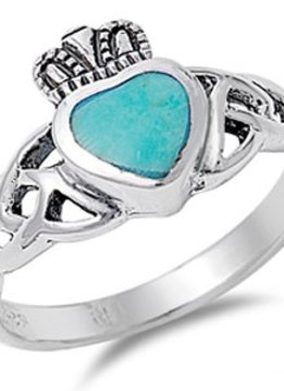 Sterling Silver Turquoise Claddagh Ring SZ 5