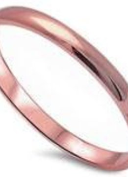 Sterling Silver Wedding Band Rose Gold Plated SZ6