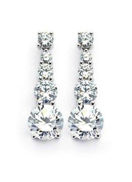 Italian Sterling Silver Gradual CZ Circle Drop Earrings
