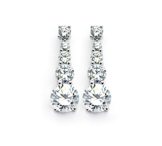 Italian Sterling Silver Gradual CZ Circle Drop Earrings
