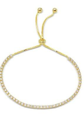 Qualita In Argento Sterling Gold Plated CZ Lariat Bracelet