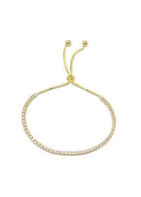 Sterling Gold Plated CZ Lariat Bracelet