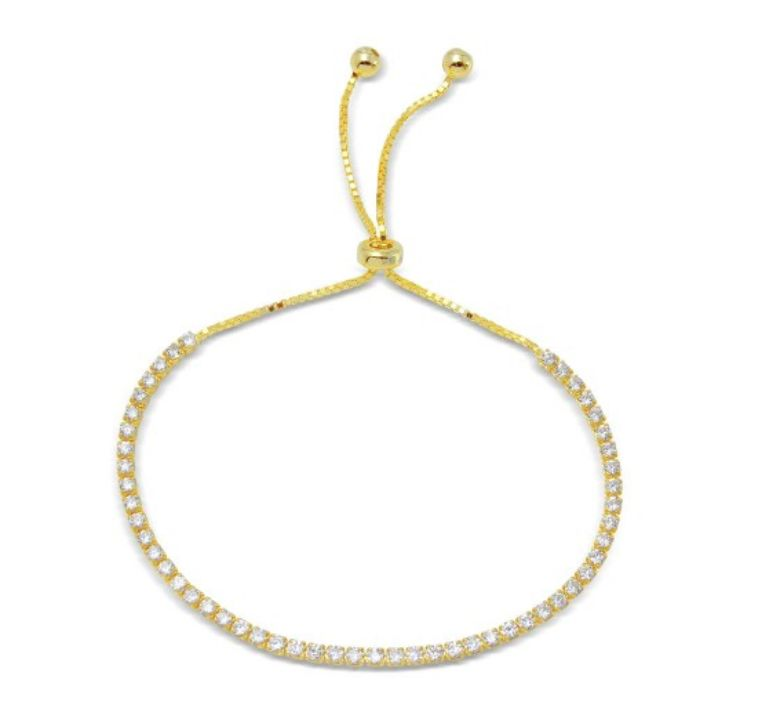 Qualita in Argento Italian Sterling Gold Plated CZ Adjustable Bracelet