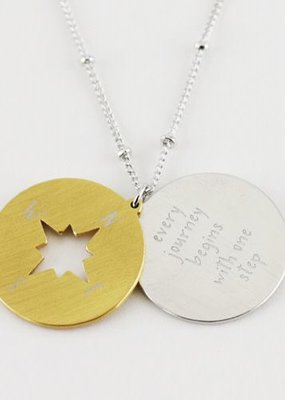 Cool & Interesting Compass Disc Every Journey Begins With One Step Necklace