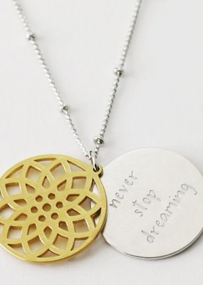 Cool & Interesting Floral Disc Never Stop Dreaming Necklace
