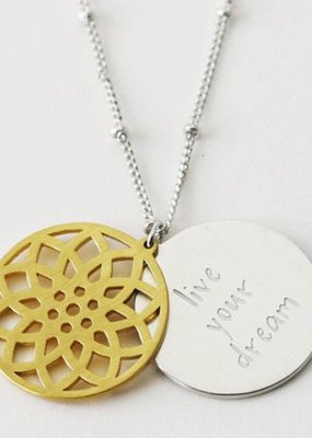 Cool & Interesting Floral Disc Live Your Dream Necklace
