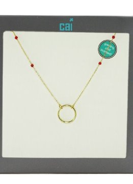 Cool & Interesting Gold Ring Red Miyuki Beads Necklace