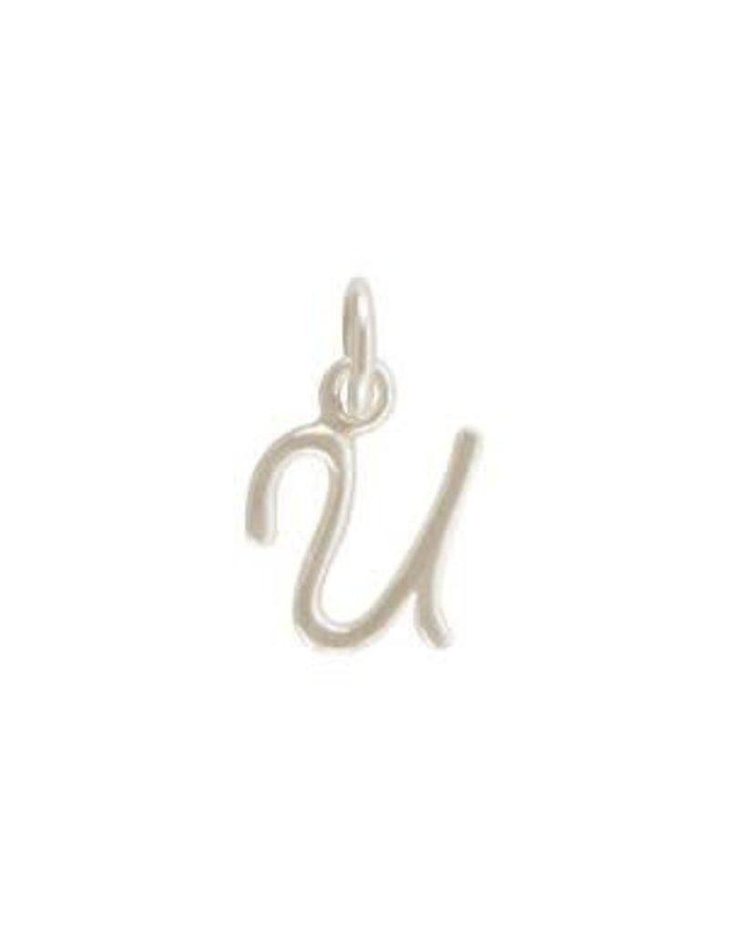 Sterling Silver Initial U Script Charm