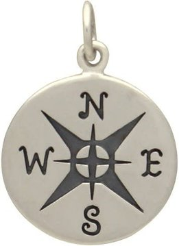Sterling Silver Large Compass Charm