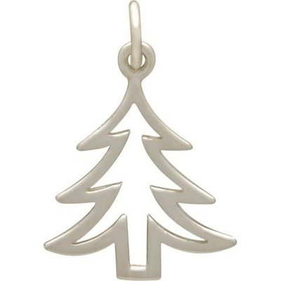 Sterling Silver Flat Christmas Tree Charm