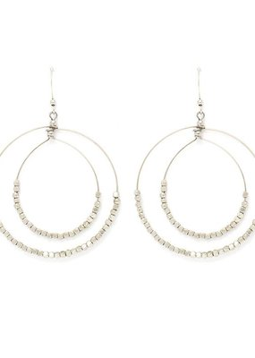 Splendid Iris Double Circle Silver Earrings With Silver Beads