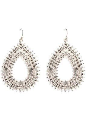 Splendid Iris Boho Teardrop Earrings Silver
