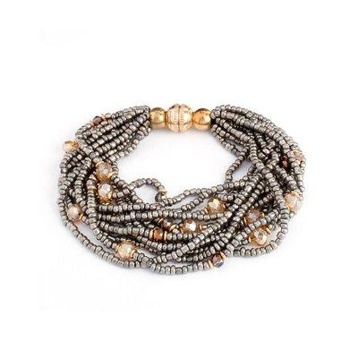 Splendid Iris Charcoal Beaded Multi Layer Bracelet With Gold Magnetic Closure