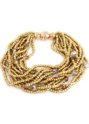 Splendid Iris Gold Beaded Multi Layer Bracelet With Gold Magnetic Closure